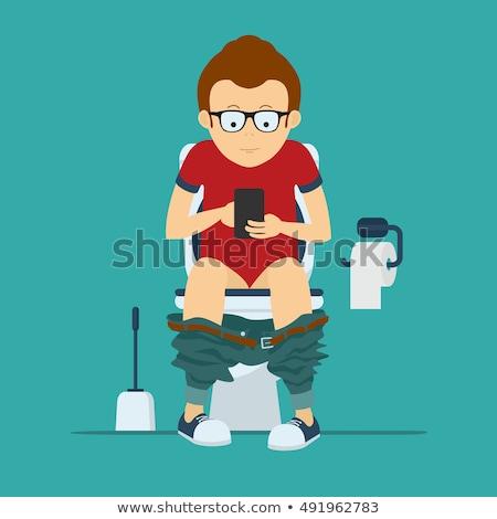 молодым · человеком · сидят · ванную · футболку · улыбаясь · белье - Сток-фото © monkey_business