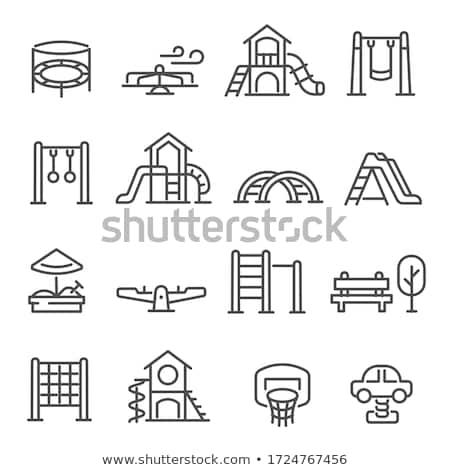 Icono Zona de juegos baloncesto deportes objetos Foto stock © kup1984