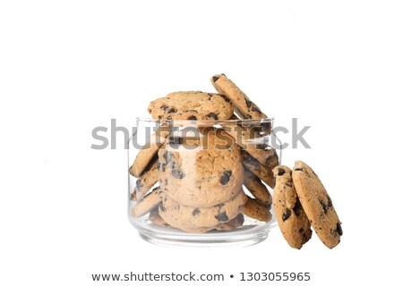 verre · jar · cookies · blanche · alimentaire · chocolat - photo stock © hofmeester