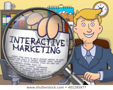 Stockfoto: Interactieve · marketing · lens · doodle · stijl · zakenman