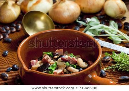 Mezcla frijoles ahumado carne alimentos cebolla Foto stock © phbcz