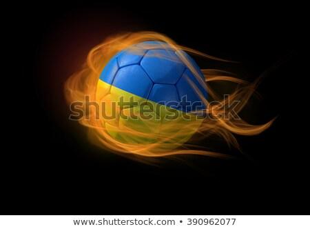 サッカー 炎 フラグ ウクライナ 黒 3次元の図 ストックフォト © MikhailMishchenko