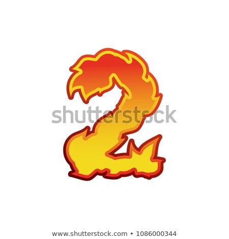 Número fuego llamas fuente dos tatuaje Foto stock © popaukropa