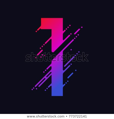 Number with liquid splash and drops, abstract colorful digits, ink mathematic symbol. Vector Stock photo © Andrei_