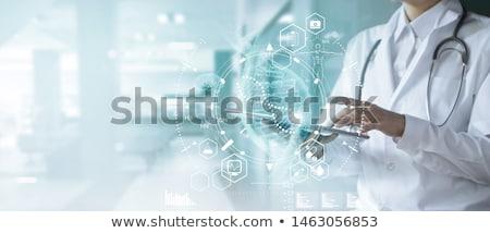 doktor · dijital · tablet · tam · uzunlukta · portre · gülen - stok fotoğraf © stevanovicigor