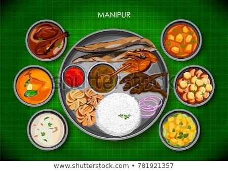 Traditional Manipuri cuisine and food meal thali of Manipur India Stock photo © vectomart