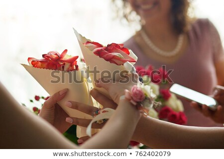 girl bridesmaid with rose petals Stock photo © IS2