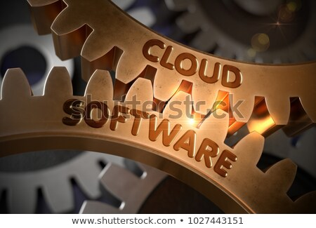 cloud software on the golden gears 3d illustration foto stock © tashatuvango