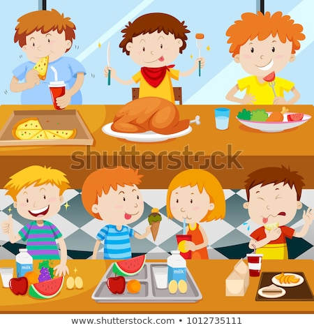 beaucoup · enfants · manger · cantine · illustration · fille - photo stock © bluering