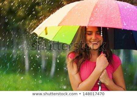 Foto d'archivio: Bella · donna · pioggia · ritratto · bella · autentico · donna