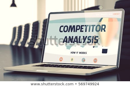 Foto stock: Business Goals Analysis On Laptop In Conference Hall