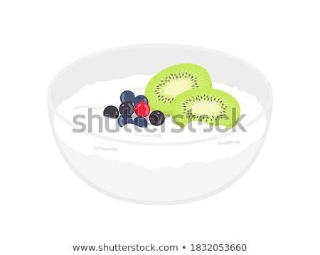 Kommen vruchten yoghurt Blauw servet Stockfoto © Digifoodstock