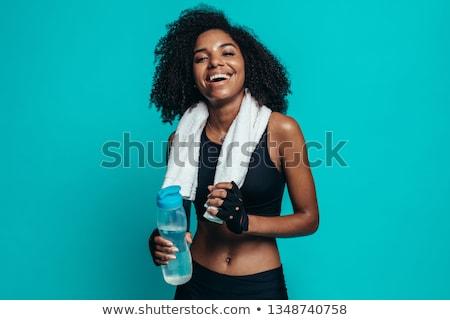 Atleet handdoek rond nek veldfles hand Stockfoto © wavebreak_media