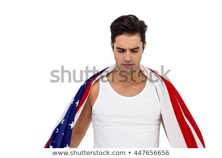 спортсмена американский флаг вокруг тело позируют белый Сток-фото © wavebreak_media