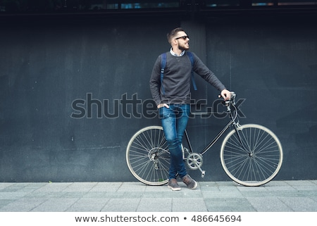 fiatal · elegáns · fickó · bicikli · város · divat - stock fotó © konradbak