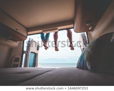 Fiatal nő lakókocsi furgon nyár retro női Stock fotó © IS2
