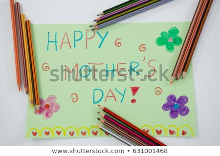 Color pencil arranged around mothers day greetings card Stock photo © wavebreak_media