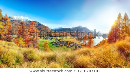Stockfoto: Najaar · landschap · berg · dorp · houten · hooi