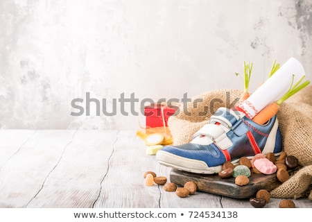 Childrens shoe and pepernoten for Sinterklaas Stock photo © Melnyk