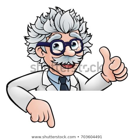 bilim · adamı · işaret · imzalamak · karikatür · profesör - stok fotoğraf © krisdog
