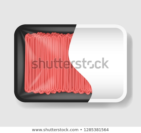 Stock photo: vector minced meat in plastic tray