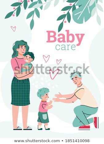 Breastfeeding Poster with Mother and Two Babies Stock photo © robuart