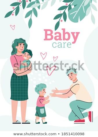 Amamentação cartaz mãe dois bebês jovem Foto stock © robuart