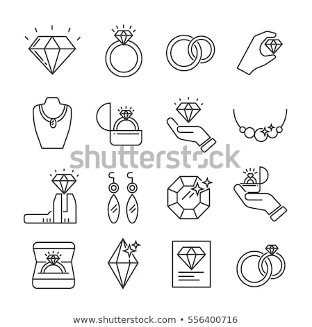 Precious Wedding Rings with Gems Vector Icons Set Stock photo © robuart