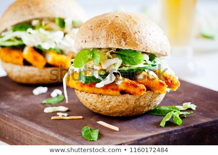 Couple Of Burgers With Fried Chicken And Salad Stock photo © mpessaris