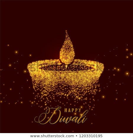 Stock photo: creative diwali diya made with golden particle