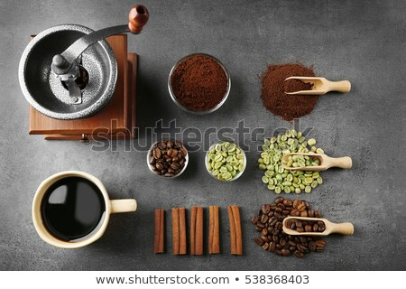 Bowls of different types of coffee beans Stock photo © Alex9500