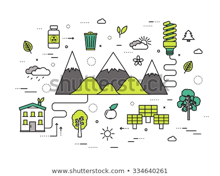 Thin line natural resources modern illustration concept. Infographic way from ecology to clean energ Stock photo © Linetale