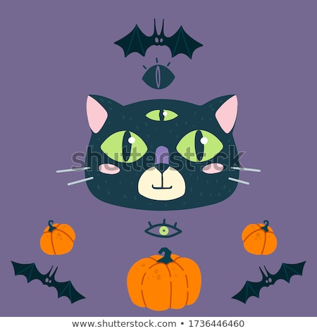 cute witch and cat halloween image 3 stock photo © clairev
