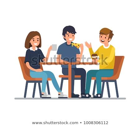 menina · alimentação · cantina · mesa · de · jantar · ilustração · criança - foto stock © pikepicture