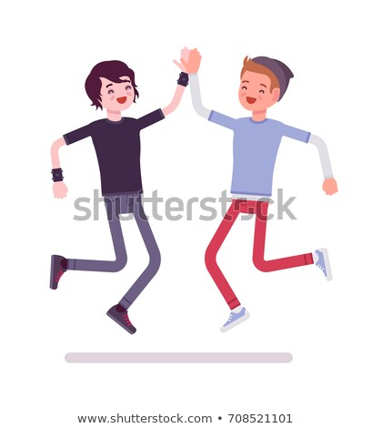 Volunteers Giving High-Five Vector Illustration Stock photo © robuart