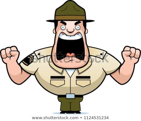 Foto stock: Cartoon Drill Sergeant Yelling