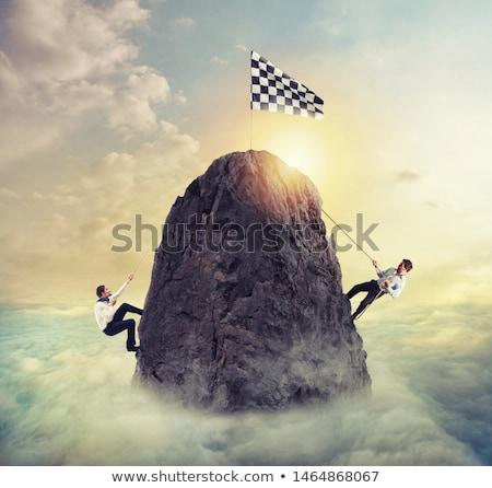 zakenman · bereiken · doel · moeilijk · carriere · klim - stockfoto © alphaspirit