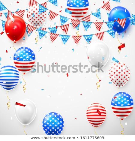 Rood · ballon · Amerikaanse · vlag · witte · kinderen - stockfoto © olehsvetiukha