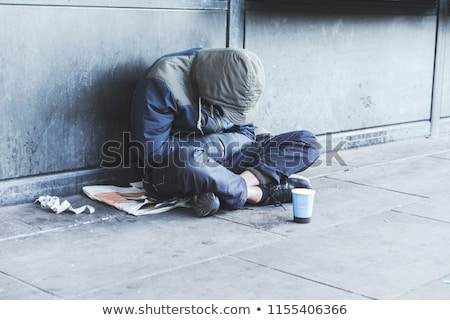 szegény · férfi · részeg · járda · üvegek · bor - stock fotó © grafvision