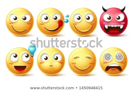 Idee Emoticon Lächeln Design orange Zeichen Stock foto © yayayoyo