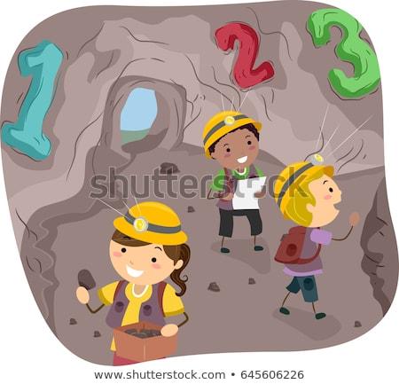 Stickman Kids 123 Cave Illustration Stock photo © lenm