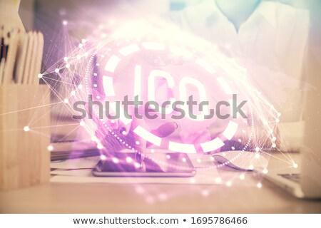 Bitcoin hologram business toekomst Stockfoto © dolgachov