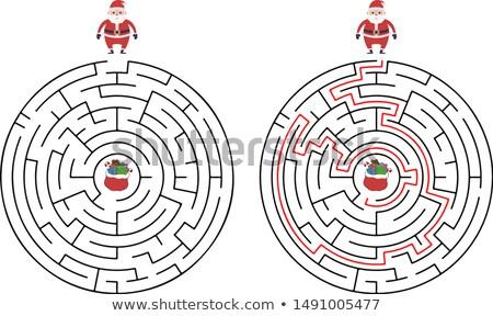 Rajz labirintus tevékenység mikulás illusztráció oktatás Stock fotó © izakowski