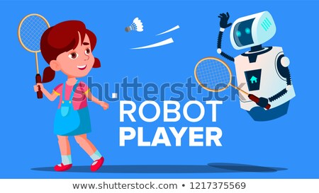 robot playing badminton with a child girl vector isolated illustration stock photo © pikepicture
