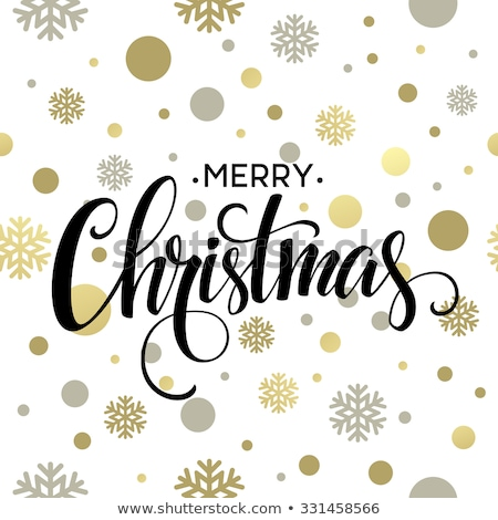 merry christmas lettering greeting card snow pattern with golden snowflakes stock photo © terriana