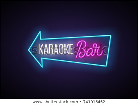 Karaoke bar neón banner diseno música Foto stock © Anna_leni