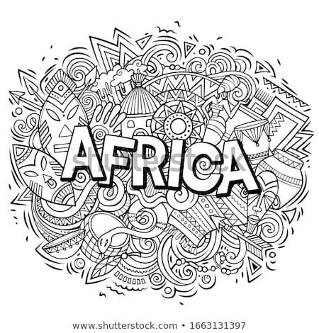 rajz · aranyos · firkák · Afrika · keret · kézzel · rajzolt - stock fotó © balabolka