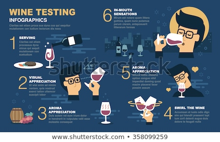 Cata de vinos azul ilustración vino arte restaurante Foto stock © bluering