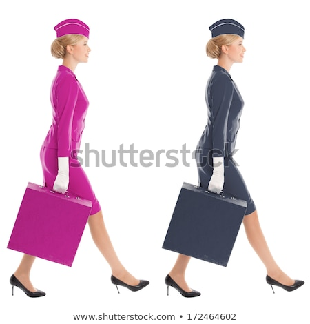Charming stewardess with suitcases Stock photo © jossdiim