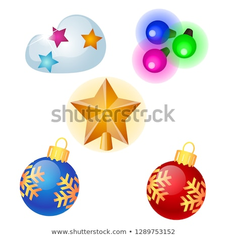 Sketch with Christmas tree decorations different forms isolated on white background. Colorful festiv Stock photo © Lady-Luck